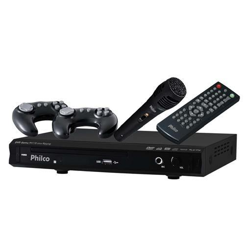 DVD Player Karaokê Philco PH170 c/ Entrada USB, 2 Joysticks, 1 Microfone, Game e Ripping